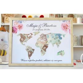 Mapa świata - ramka na pieniądze